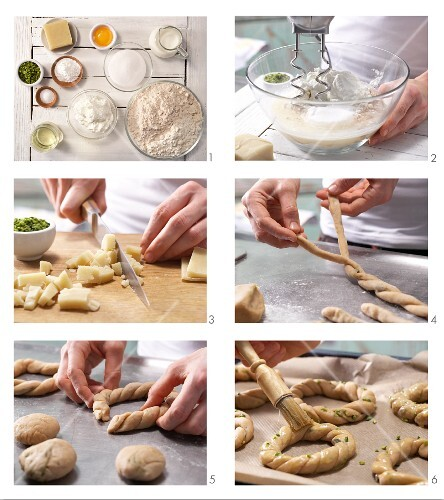 How to prepare marzipan and quark wreaths with pistachio nuts