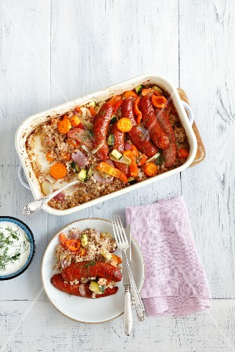 Buckwheat bake with vegetables and sausage