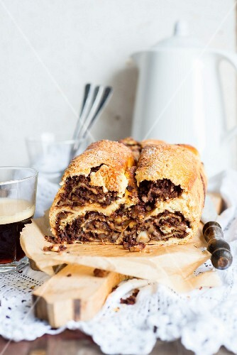 Povitica (yeast bread with a chocolate & walnut filling traditionally served at Easter in Croatia)