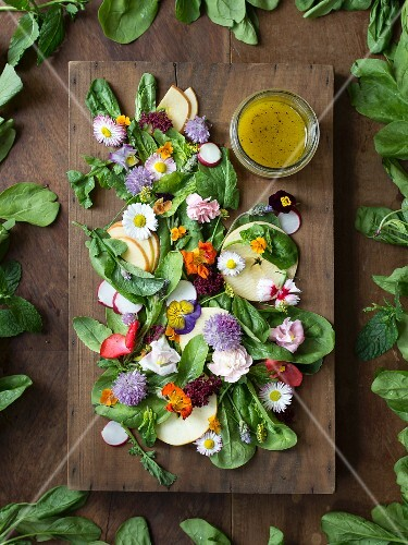Edible flowers, spinach, apple, radish, rocket and mustard dressing