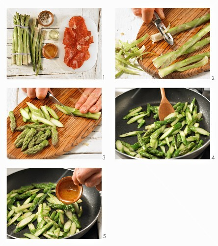 How to prepare pan-fried green asparagus with Italian beef ham