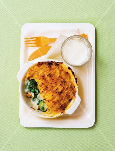 Fish pie with a sweet potato & butternut squash topping