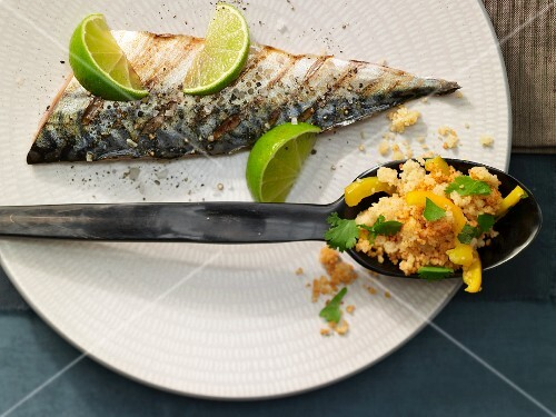 Pepper and lime couscous with grilled mackerel