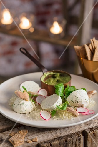 Trout mousse with radishes and avocado dip