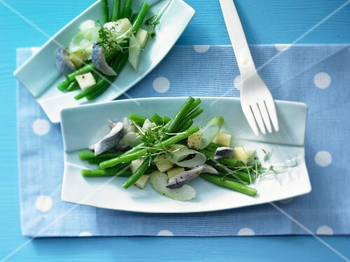 Herring & green bean salad with wasabi & apple sauce
