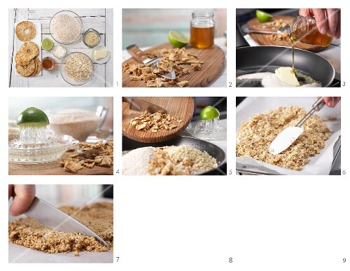How to prepare pineapple and amaranth bars with porridge oats and almonds