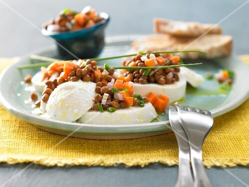 Lentil & carrot salad on slices of mozzarella