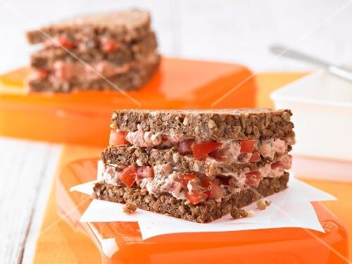 Ricotta and tomato sandwiches