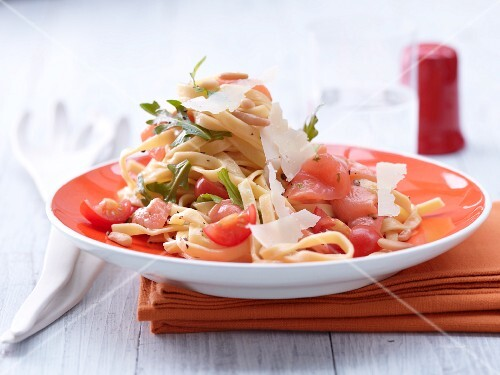 Tagliatelle with marinated salmon, pine nuts and Pecorino