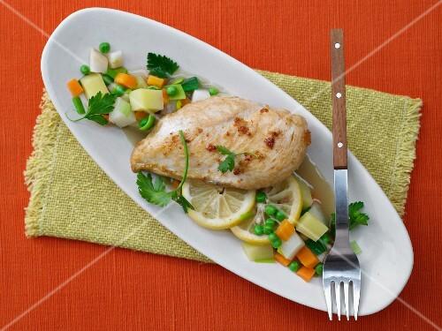 Lemon chicken with bouillon vegetables