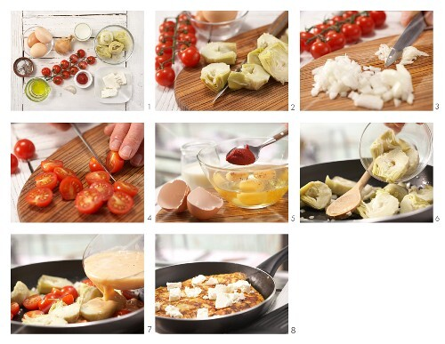 How to prepare artichoke tortilla with tomatoes and sheep's cheese