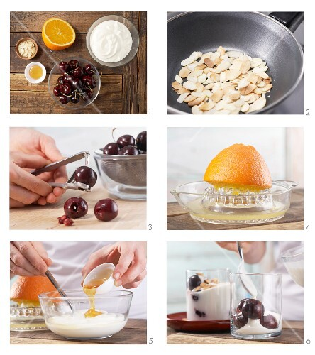How to prepare orange yoghurt with cherries and almonds