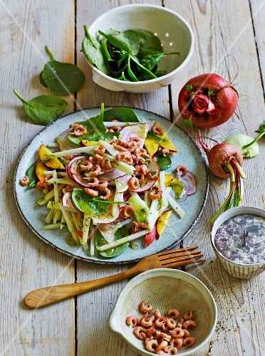 A summery kohlrabi salad with shrimps, nectarines and lettuce