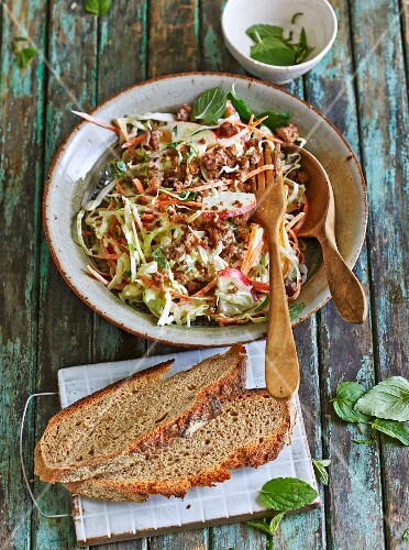 A carrot & pointed cabbage salad with minced beef and apple