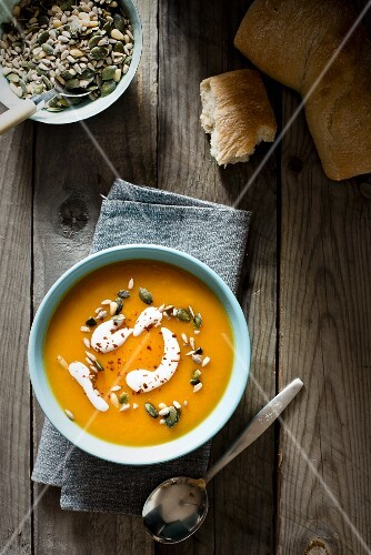 Butternush squash soup with seeds