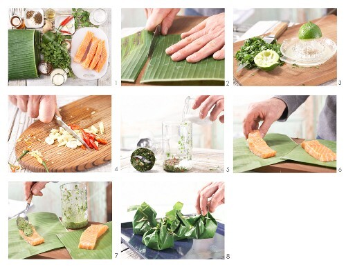 How to prepare salmon in a banana leaf with coconut chilli paste