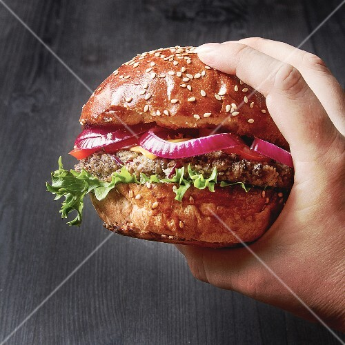 A hand holding a home-made beefburger with red onion