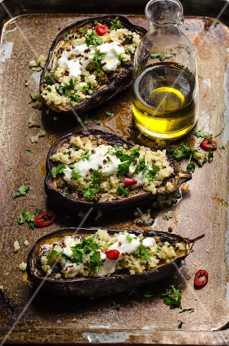 Baked aubergine with a bulgar wheat filling