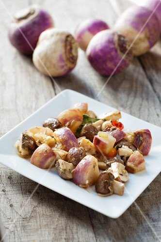 Autumn turnip and Greek-style mushrooms