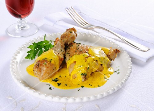 Chicken with creamy Italian saffron saice
