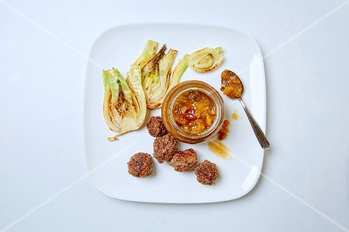 Exotic nectarine chutney with garam masal, served with pan-fried fennel and meatballs