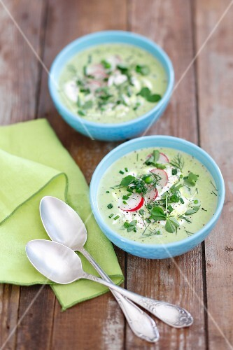 Creamy green pea soup with radishes and herbs