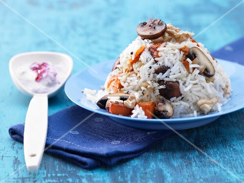 Rice with pumpkin and mushrooms
