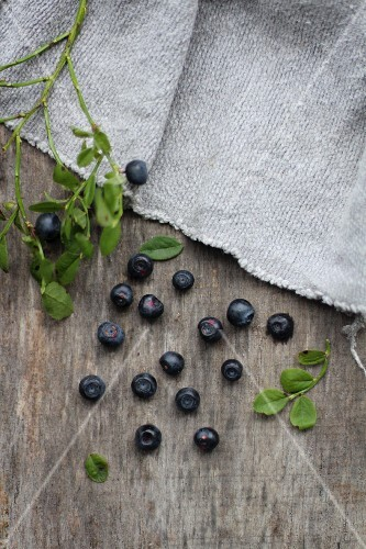 Small blueberries on a wooden board