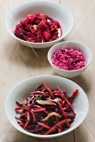 Beetroot salad with orange and almonds, beetroot salad with apple and sour cream and beetroot salad with herring