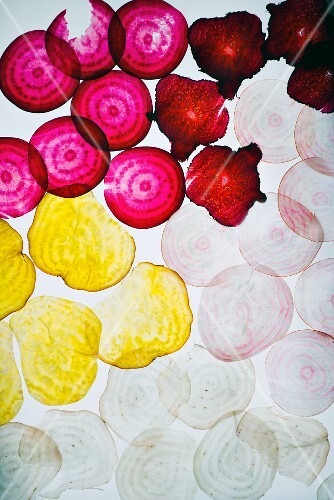 Different types of thinly sliced beetroot