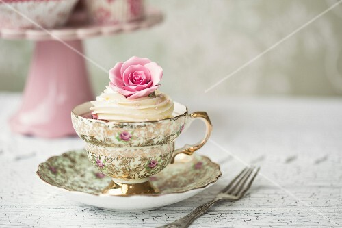 Rose cupcake in a vintage teacup