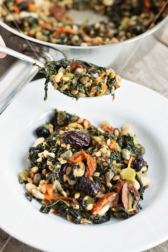 Einkorn wheat with lacinato kale, beans, dried tomatoes and prunes