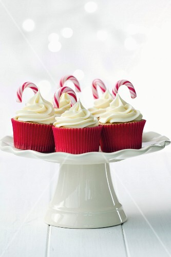 Festive cupcakes decorated with candy canes