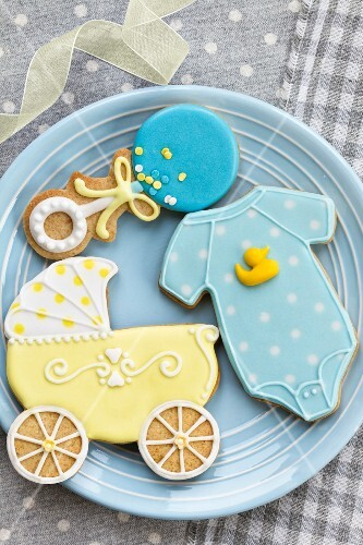 Blue and yellow cookies for a baby shower