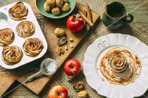 Apple rose tarts with caramel sauce and walnuts