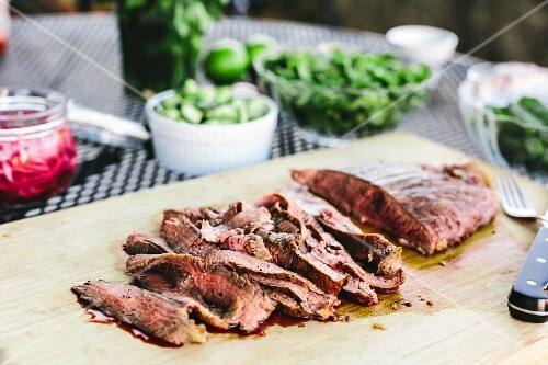 Grilled and sliced flank steak