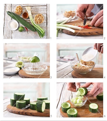 How to prepare chunks of cucumber filled with peanuts and chilli