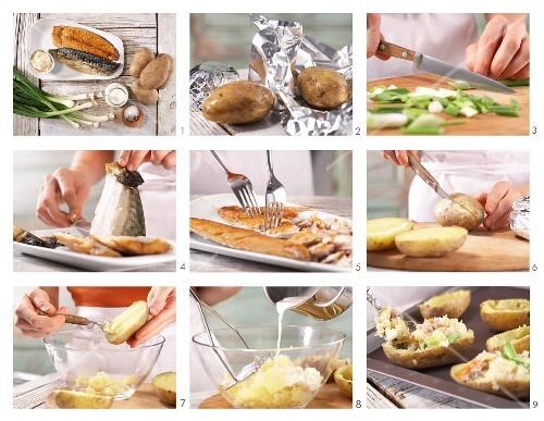 How to prepare baked potato with smoked mackerel