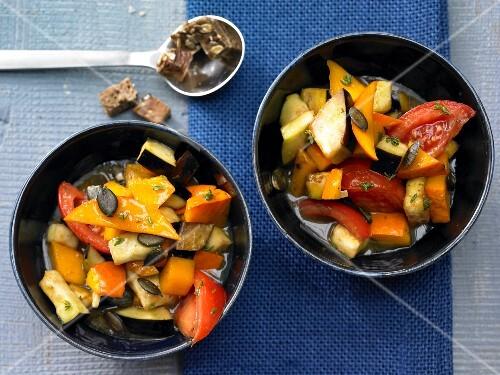 Ratatouille with pumpkin, aubergine and tomato