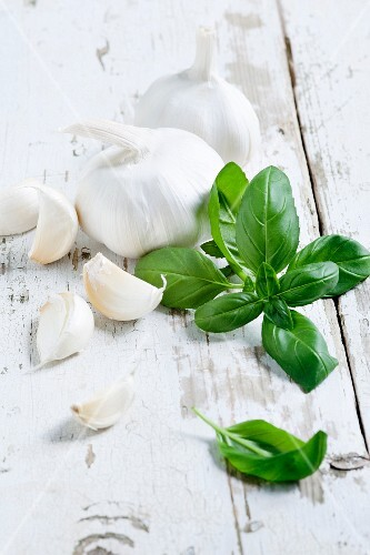 Garlic and fresh basil
