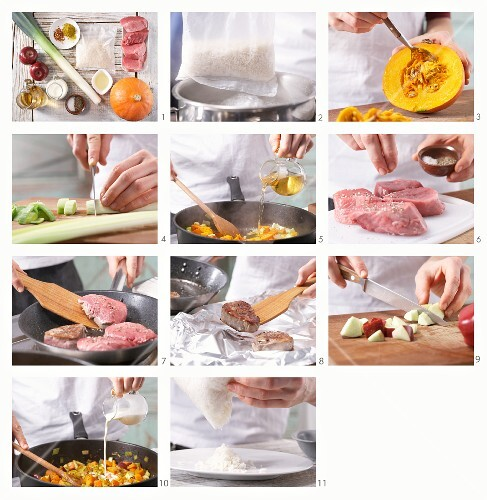 How to prepare fillet of pork with pumpkin and apple