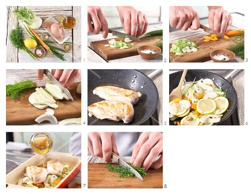 How to prepare chicken breast fillets with fennel and lemon