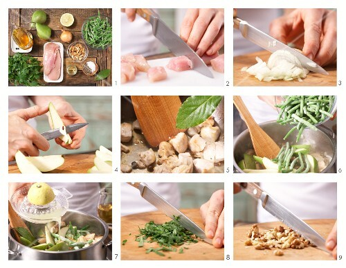 How to prepare chicken cooked with pears and green beans