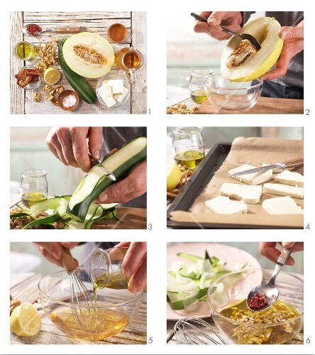 How to prepare courgette & melon carpaccio with sheep's cheese