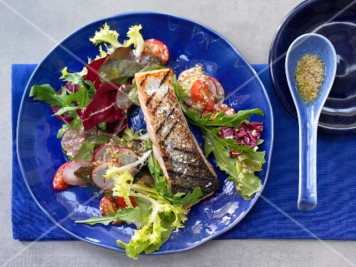 Grileld salmon with salad and mustard & honey dressing