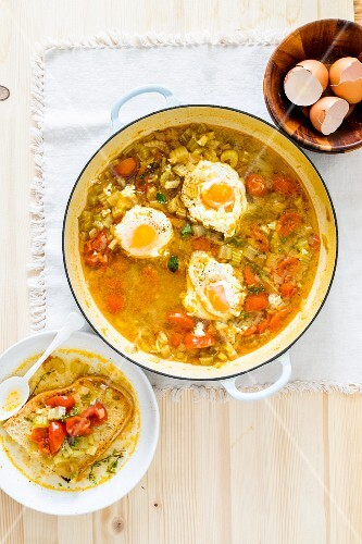 Acquacotta (Tuscan vegetable soup with egg and bread)