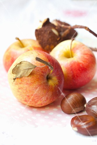 Fresh apples and chestnuts