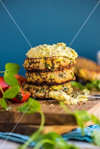 Quinoa fritters with avocado dip