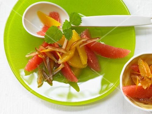 Orange grapefruit salad with date strips