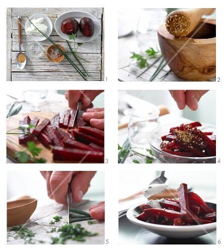 rote bete salat mit frischem kr uterquark zubereiten. Black Bedroom Furniture Sets. Home Design Ideas